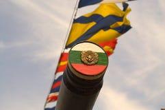 Bulgarian emblem on warship gun Stock Photo