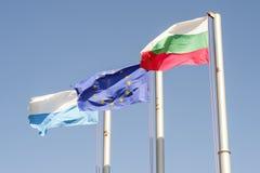 Bulgarian and Europe flags Horizontal 1 Royalty Free Stock Image