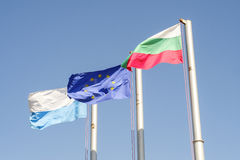Bulgarian and Europe flags Horizontal 3 Royalty Free Stock Image