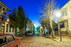 Bulgarian Evening. Street in Pomorie stock photo