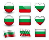 The Bulgarian flag. Set of icons and flags. glossy and matte on a white background Stock Image