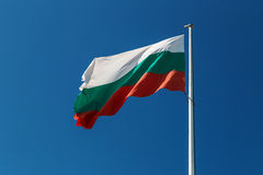 Bulgarian flag against blue sky royalty free stock photography