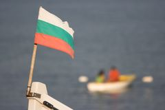 Bulgarian flag at bow royalty free stock images