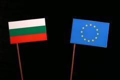 Bulgarian flag with European Union EU flag isolated on black. Background Stock Photos