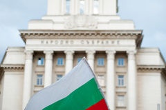 Bulgarian flag in front of the National Assembly building in Sofia Stock Images