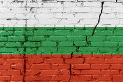 Bulgarian flag painted on an old brick wall Royalty Free Stock Image