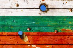Bulgarian flag painted on old weathered boards Royalty Free Stock Image