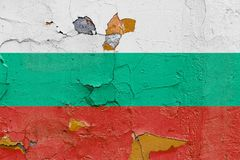 Bulgarian flag painted on a weathered concrete wall Royalty Free Stock Photo