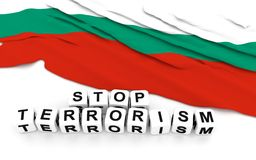 Bulgarian flag and text stop terrorism. 3D rendering Stock Photo