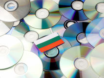Bulgarian flag on top of CD and DVD pile isolated on white Stock Photo
