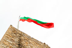 The Bulgarian flag on top of Tsaravets fortress Stock Images