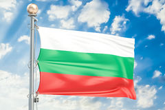Bulgarian flag waving in blue cloudy sky, 3D rendering. Bulgarian flag waving in blue cloudy sky, 3D Stock Image