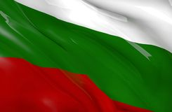 Bulgarian flag waving on wind. Bulgarian flag in white, green and red color waving on wind. Close up. 3D illustration and Rendering Stock Photo