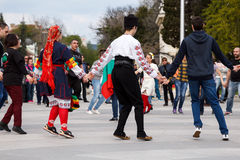 Bulgarian folk dance Royalty Free Stock Photography