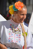 Bulgarian folk dancer. MONTREAL QUBEC CANADA 08 01 2015: Bulgarian folk dancer are intimately related to the music of Bulgaria feature of Balkan folk music is royalty free stock photography