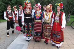 Bulgarian folk dancers Stock Photo