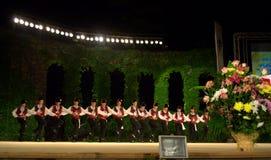 Bulgarian folk group dancing stage Stock Photos