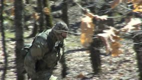 Bulgarian folk militiamen in search of illegal migrants on the border with Turkey stock video