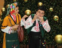Bulgarian folklore. Christmas performance of bulgarian folklore formation in Mall Serdika -  24. 12. 2012, Sofia, Bulgaria Stock Images