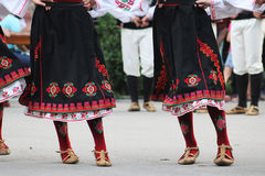 Bulgarian folklore dancers. Bulgarian dancers in folklore costume, part of International folklore festival in Sofia Royalty Free Stock Photo
