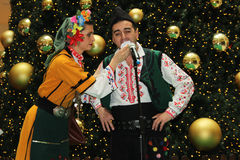 Bulgarian folklore performance. Christmas performance of bulgarian folklore formation in Mall Serdika -  24. 12. 2012, Sofia, Bulgaria Royalty Free Stock Images