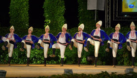 Bulgarian folkloric dancers at stage Stock Photos