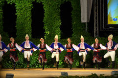 Bulgarian folkloric dancers at stage Royalty Free Stock Images