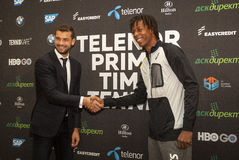 Bulgarian and French tenis players Grigor Dimitrov Gael Monfils. SOFIA, BULGARIA - NOVEMBER 27, 2015: Bulgarian and French tenis players Grigor Dimitrov Gael Royalty Free Stock Photography