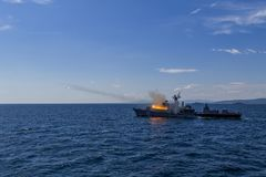 Bulgarian frigate shoots in the Black Sea/Bulgaria/07.19.2018 during the exercise.Editorial used only. royalty free stock photography