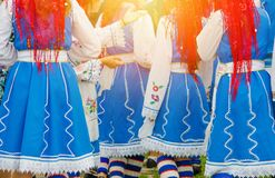 Bulgarian girls in ethnic traditional costumes. royalty free stock image