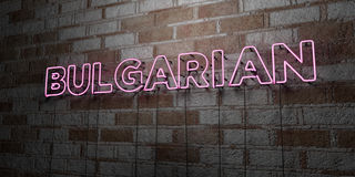 BULGARIAN - Glowing Neon Sign on stonework wall - 3D rendered royalty free stock illustration Stock Images