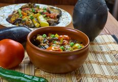 Bulgarian guvec. Dish of stewed vegetables and greens, close up Royalty Free Stock Photo