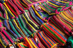 Bulgarian hand-made rag-carpets, different colors, detail Royalty Free Stock Photography