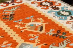 Bulgarian hand-made rag-carpets, different colors, detail Stock Photography