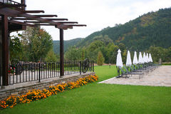 Bulgarian hotel backyard. With umbrellas and lounges Stock Photography