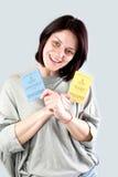 Uk work permission. Bulgarian immigrant holding uk work permission card for bulgarians and romanians Stock Photo