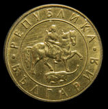Bulgarian Lev coin. Back side of Bulgarian Lev coin in gold color Royalty Free Stock Image