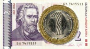 1 bulgarian levmynt mot för levanmärkning för 2 bulgarian avers arkivbilder