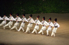 Bulgarian male folk dancers Royalty Free Stock Image