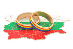 Bulgarian map with LGBT rainbow rings, 3D rendering Royalty Free Stock Photography