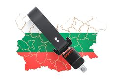 Bulgarian map with safety belt. Security and protect or insuranc. E concept, 3D Stock Photography