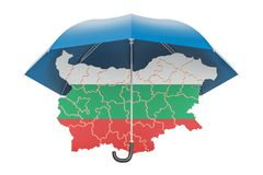 Bulgarian map under umbrella. Security and protect or insurance. Concept, 3D Stock Photography