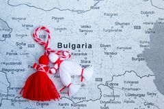 Bulgarian Martenitsa and map of Bulgaria Royalty Free Stock Photos