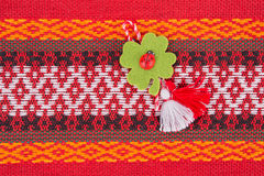 Bulgarian Martenitsa. Martenitsa is a piece of adornment, made o Stock Photos