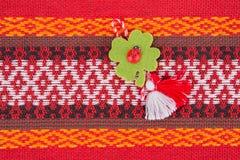 Bulgarian Martenitsa. Martenitsa is a piece of adornment, made o Stock Photos
