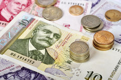 Bulgarian money close up. Ten levs and some coins. Shallow dof. Focus on coins Royalty Free Stock Photo