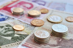Bulgarian money. Close up. Shallow dof. Focus on coins Royalty Free Stock Images