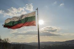 Bulgarian National Flag at Veliko Tarnovo city at early spring. Bulgarian National Flag at Veliko Tarnovo city at early spring, the old capital of Bulgaria Stock Photography