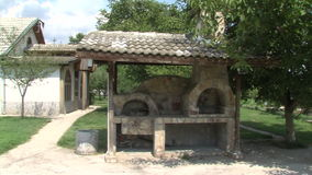 Bulgarian National furnace Manor Vanga in Rupite. Temple of Saint Petka built Vanga stock footage