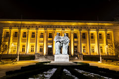 Bulgarian National Library and momument of Cyril and Methoduis. Night scene of the illuminated  Bulgarian National Library in Sofia,Bulgaria Stock Photos